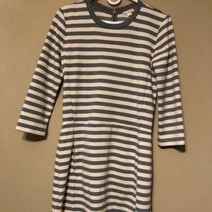 Gap pointe striped dress small grey white